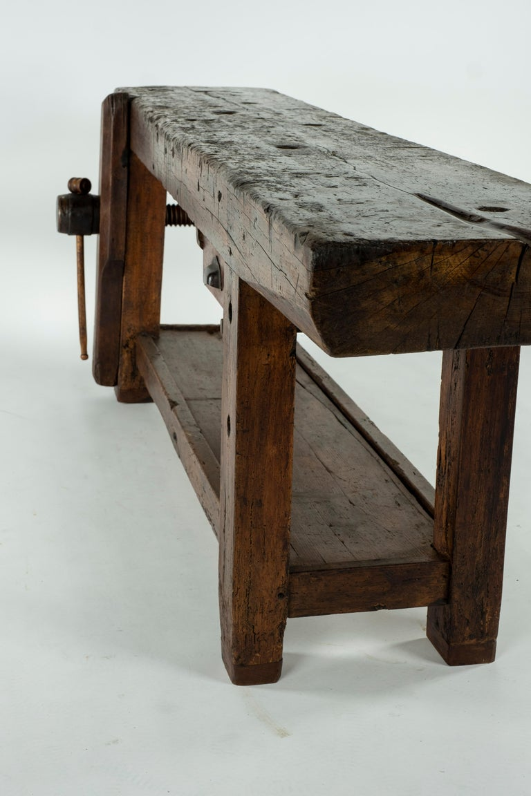 19th Century Chestnut Workbench Console For Sale 8