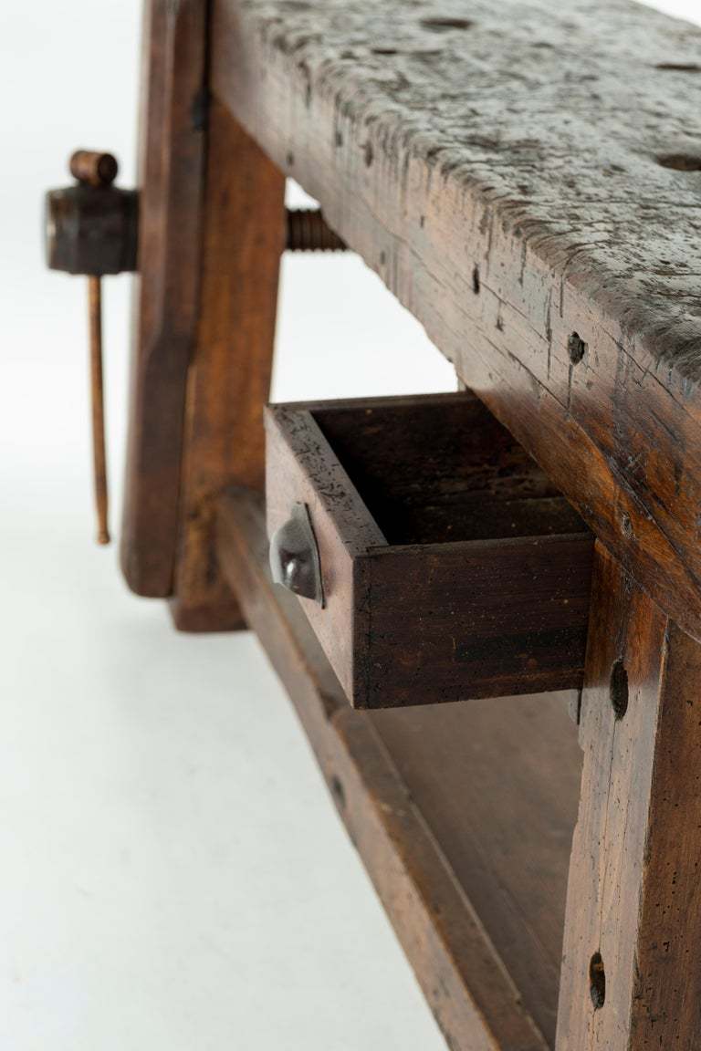 19th Century Chestnut Workbench Console For Sale 12