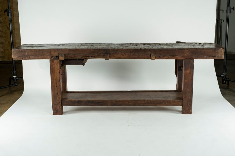 19th Century Chestnut Workbench Console For Sale 14