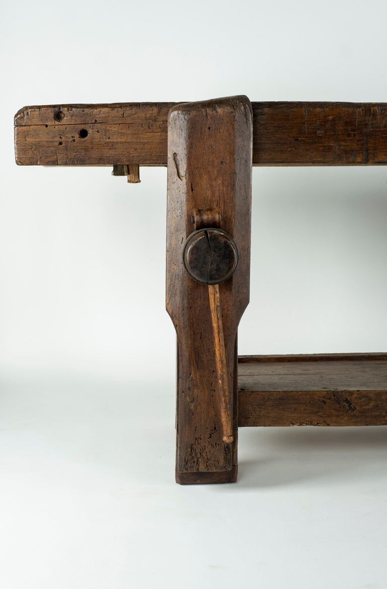 Industrial 19th Century Chestnut Workbench Console For Sale