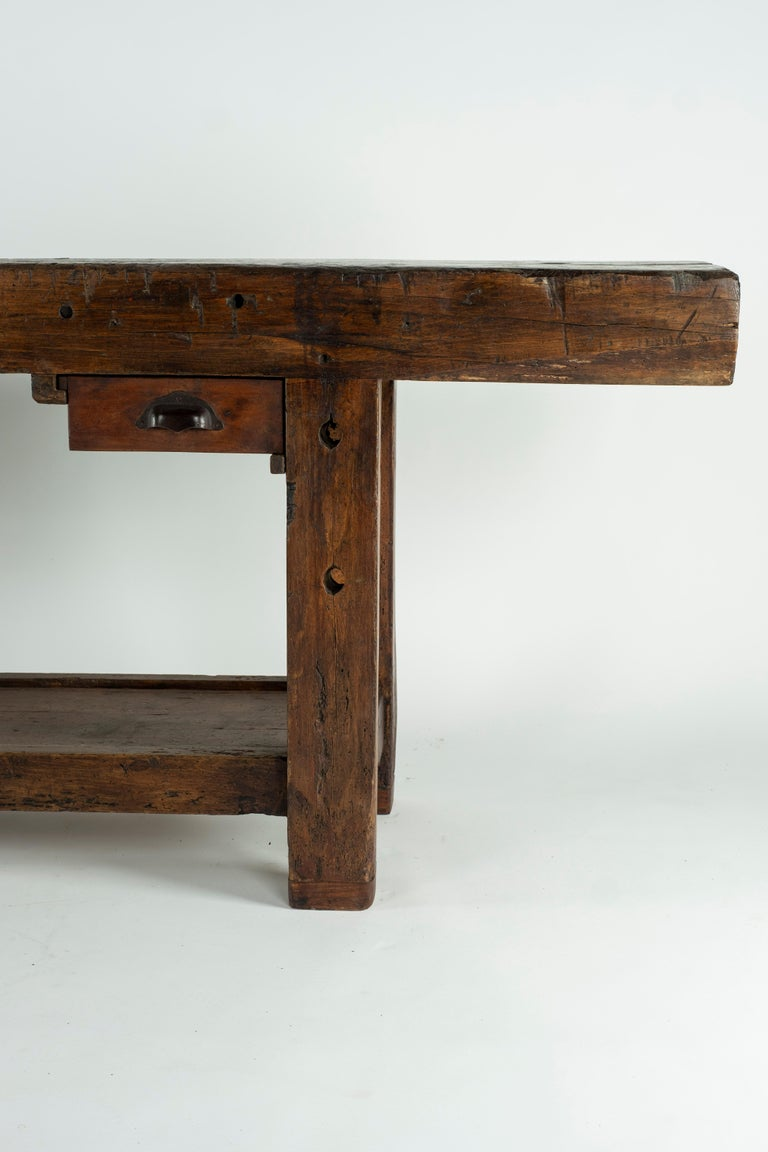 French 19th Century Chestnut Workbench Console For Sale
