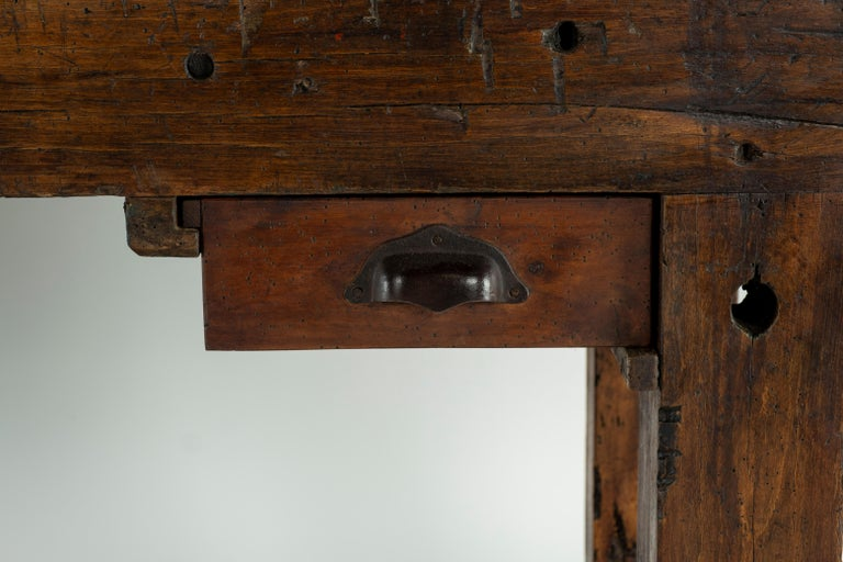 19th Century Chestnut Workbench Console In Good Condition For Sale In Houston, TX