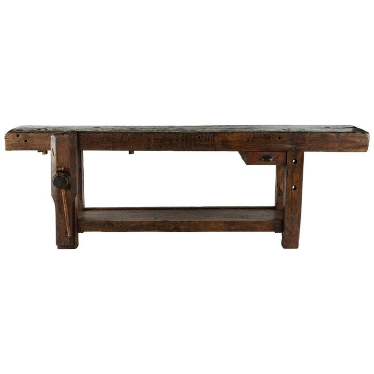 19th Century Chestnut Workbench Console For Sale