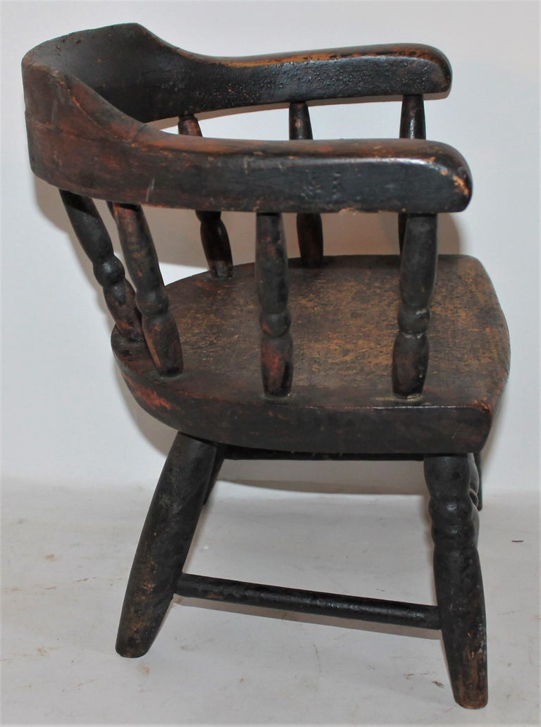 American 19th Century Children's Captains Chair in Original Paint For Sale