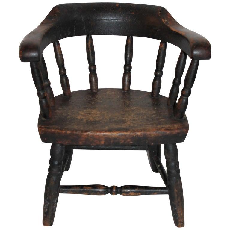 19th Century Children's Captains Chair in Original Paint For Sale
