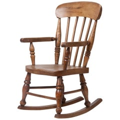 19th Century Children's Rocking Chair Beechwood