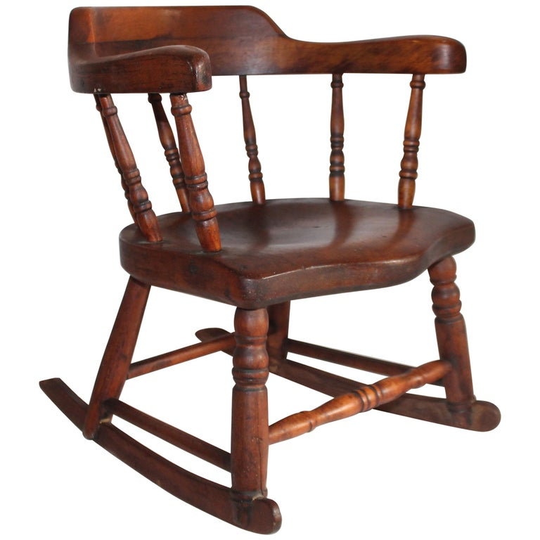 19th Century Child's Windsor Rocker from New England For Sale