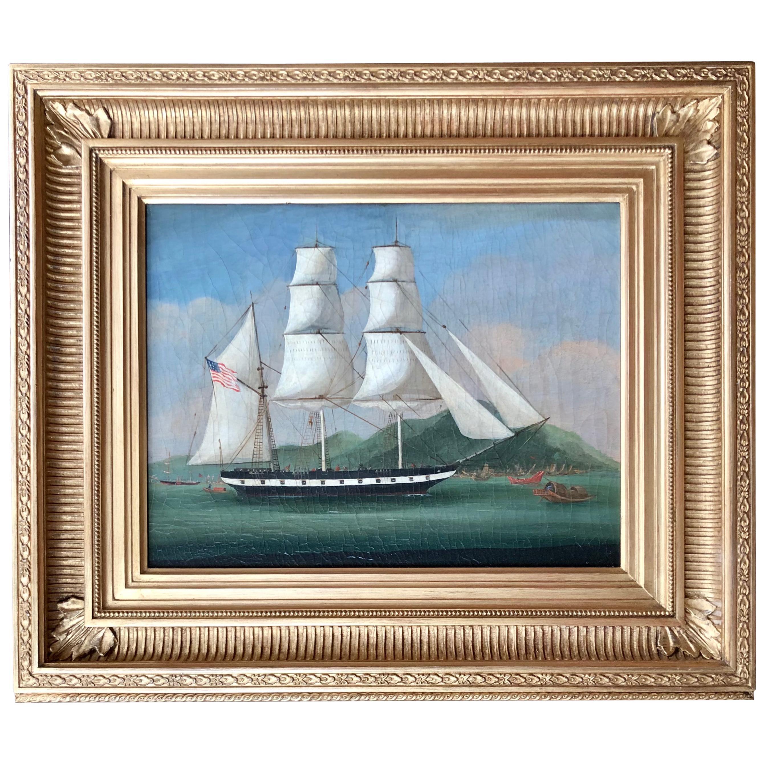 19th Century China Trade American Ship Painting