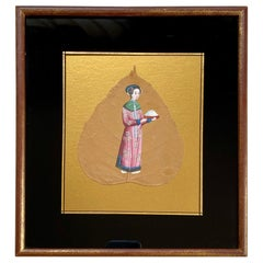 19th Century China Trade Painting on a Leaf, circa 1870s