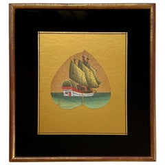 19th Century China Trade Painting on a Leaf, Likely, 1870s