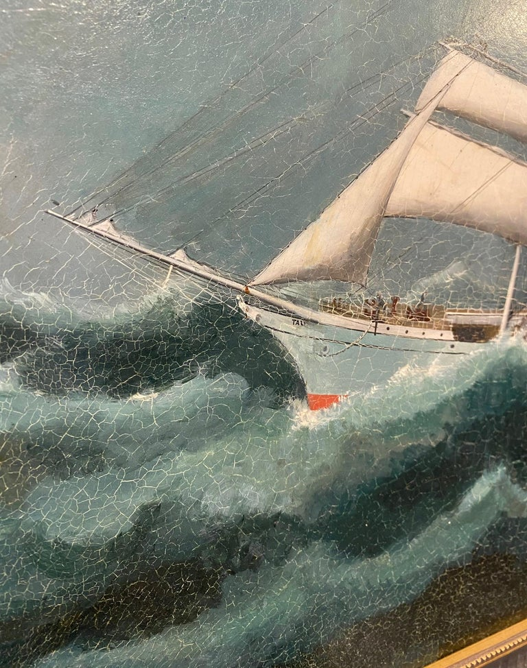 19th century China Trade Seascape with an American Clipper Ship, circa 1880s, a Chinese Export oil on canvas seascape depicting an iron or steel hulled clipper ship in heavy rough seas under reefed sails. The painting was executed with the fine