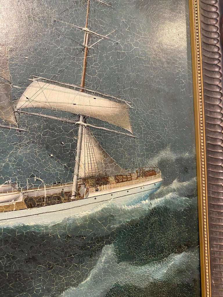 Chinese 19th Century China Trade Seascape with an American Clipper Ship, circa 1880s For Sale