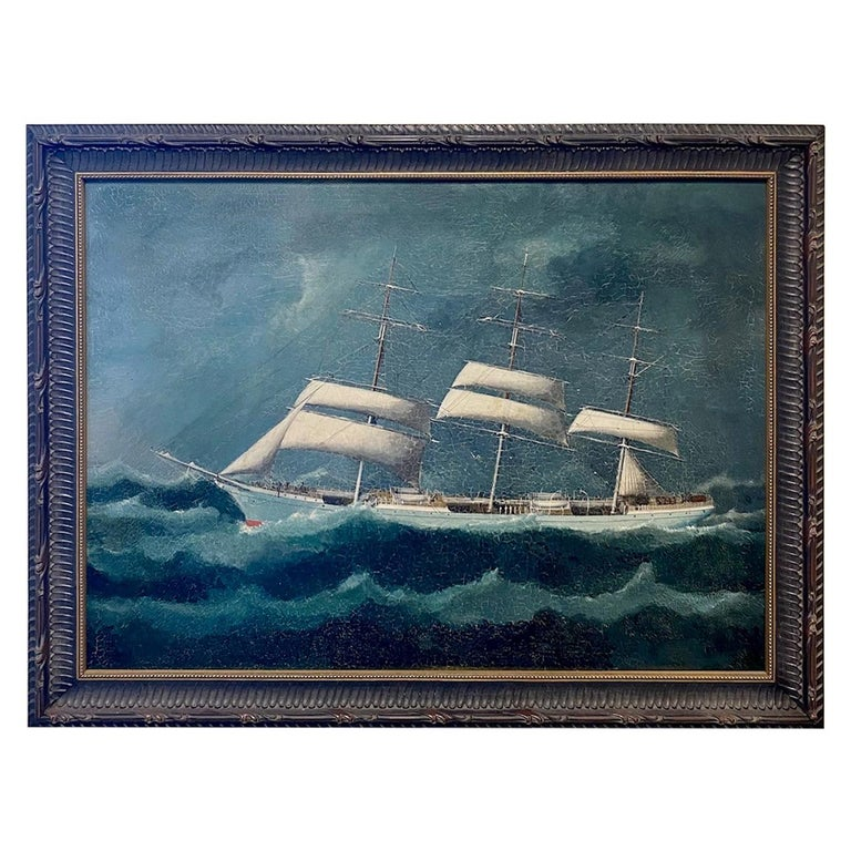 19th Century China Trade Seascape with an American Clipper Ship, circa 1880s For Sale