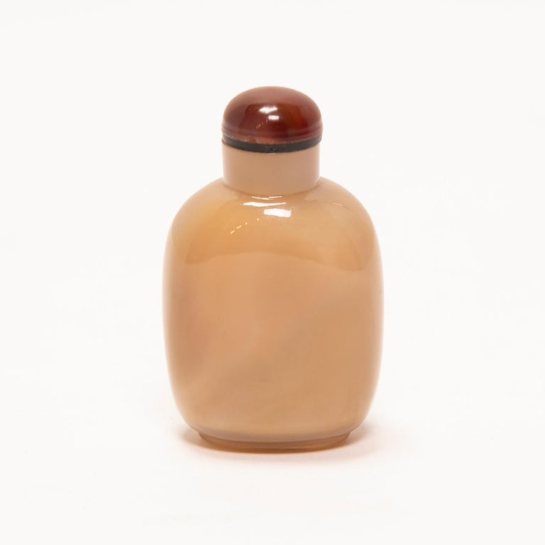 19th Century Chinese Agate Longevity Snuff Bottle In Good Condition For Sale In Chicago, IL
