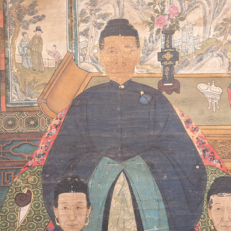 This richly colored and exquisitely detailed composition painted, circa 1850 during the Qing dynasty points to the central role ancestor worship played in Chinese culture. The painting depicts several generations, dressed in intricately detailed and