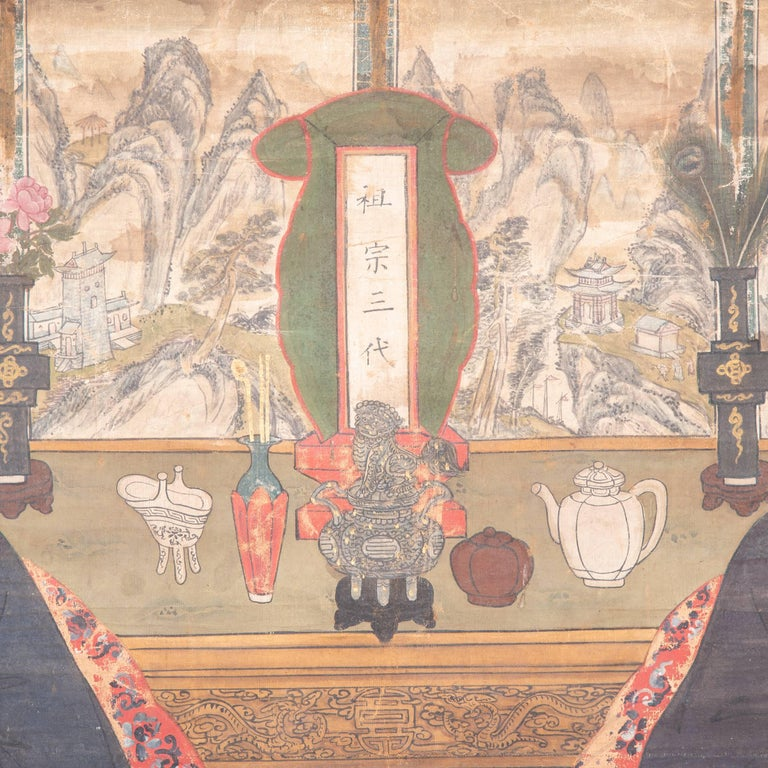 Qing 19th Century Chinese Ancestral Painting For Sale