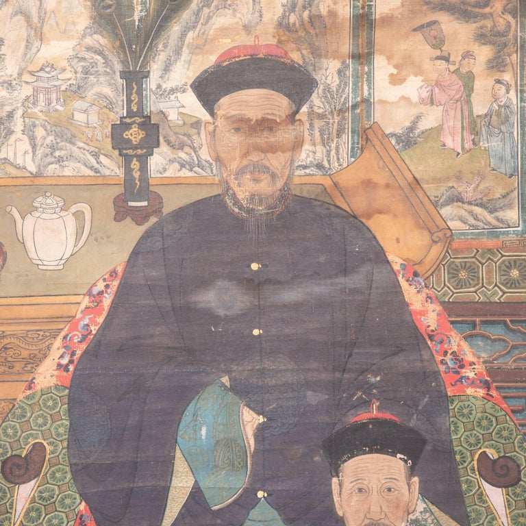 19th Century Chinese Ancestral Painting In Good Condition For Sale In Chicago, IL