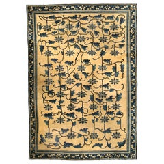Authentic 19th Century Chinese Beige and Dark Blue Handwoven Wool Carpet