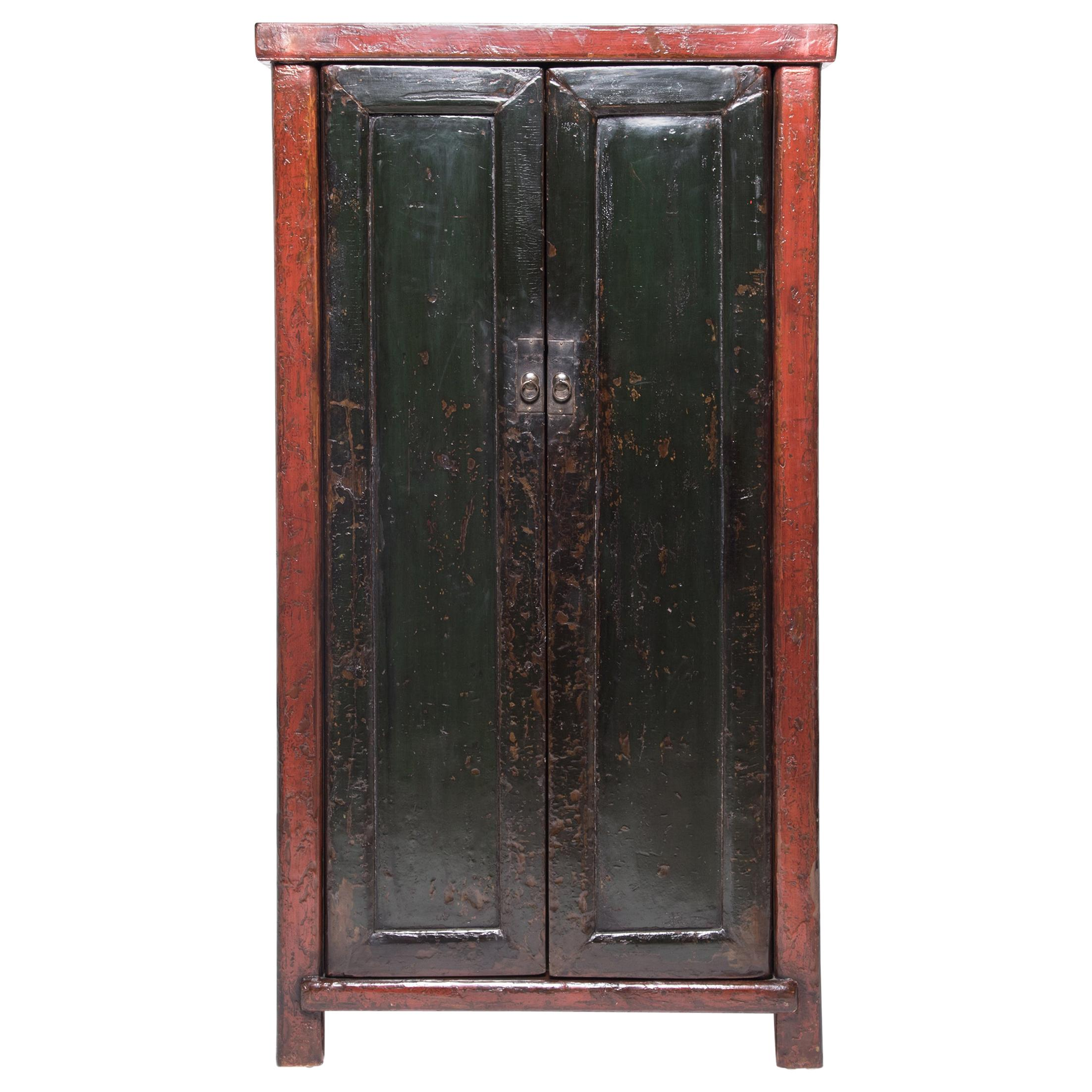 Chinese Red & Black Lacquer Cabinet, c. 1850