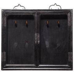 Chinese Black Lacquer Calligraphy Brush Cabinet, c. 1850