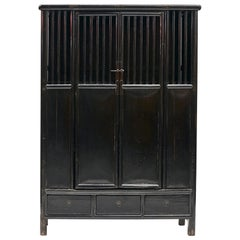 19th Century Chinese Black Lacquer Lattice Door Cabinet in Elm Wood