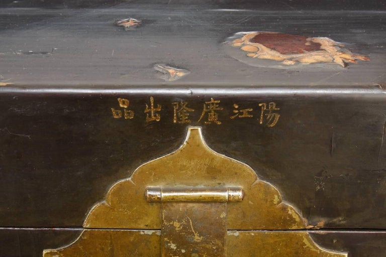19th Century Chinese Black Lacquered Pigskin Trunk For Sale 3