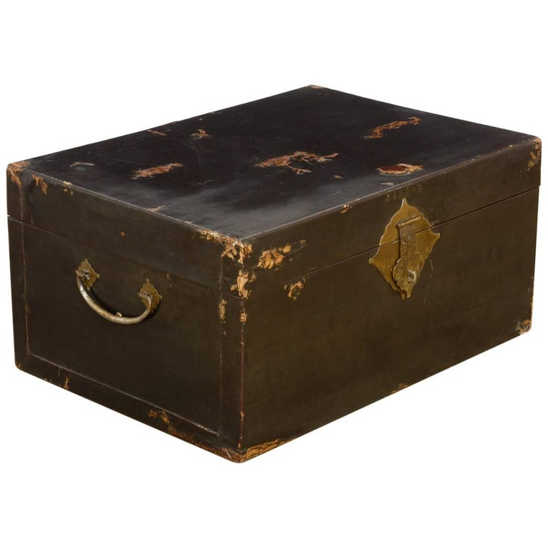 19th Century Chinese Black Lacquered Pigskin Trunk For Sale