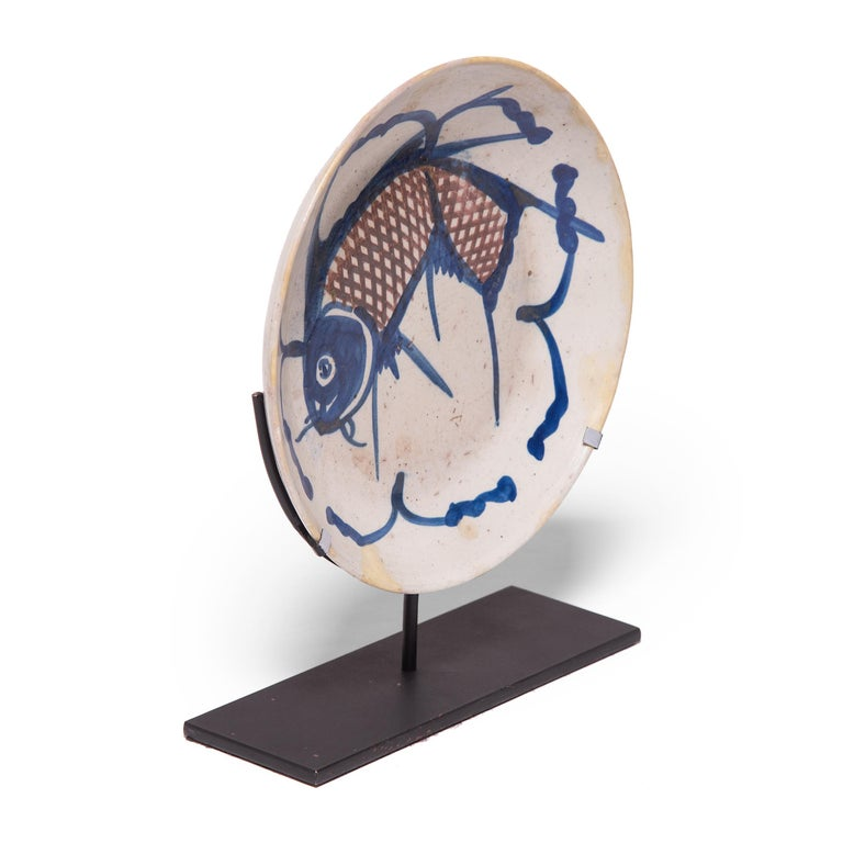 Glazed 19th Century Chinese Blue and White Fish Plate For Sale