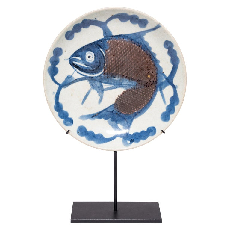 19th Century Chinese Blue and White Fish Plate on Stand For Sale