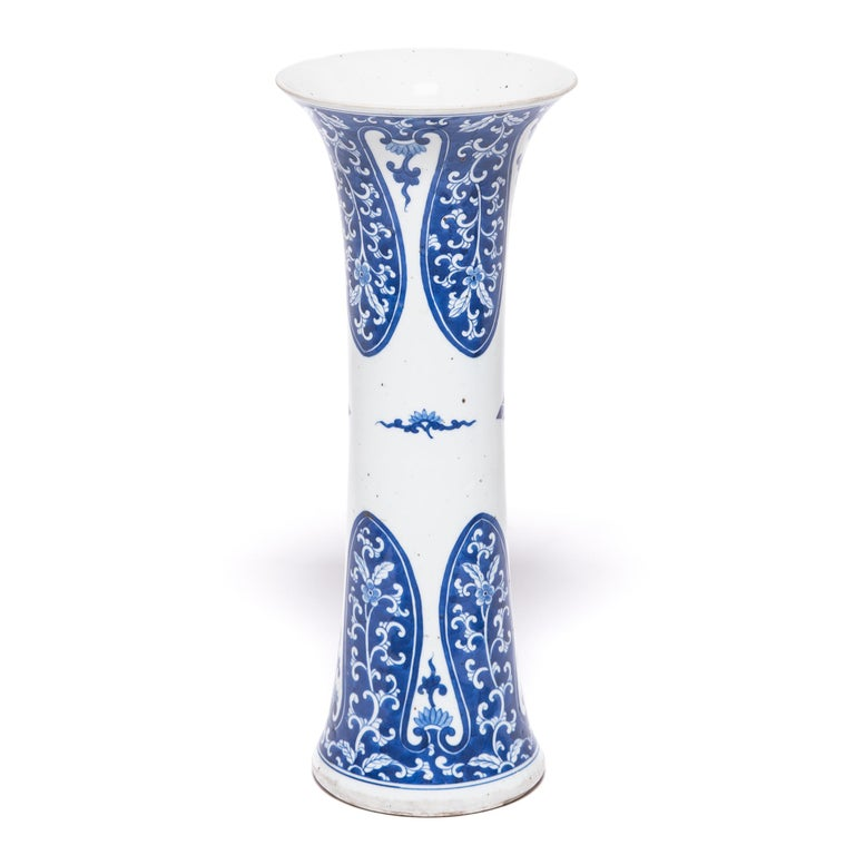 Qing 19th Century Chinese Blue and White Gu Vase For Sale