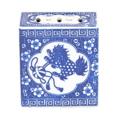 19th Century Chinese Blue and White Headrest with Guardian Lion