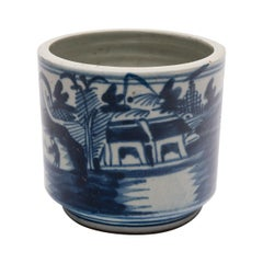 19th Century Chinese Blue and White Landscape Brush Pot