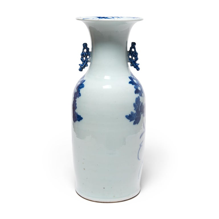 Qing 20th Century Chinese Blue and White Peacock Fantail Vase For Sale