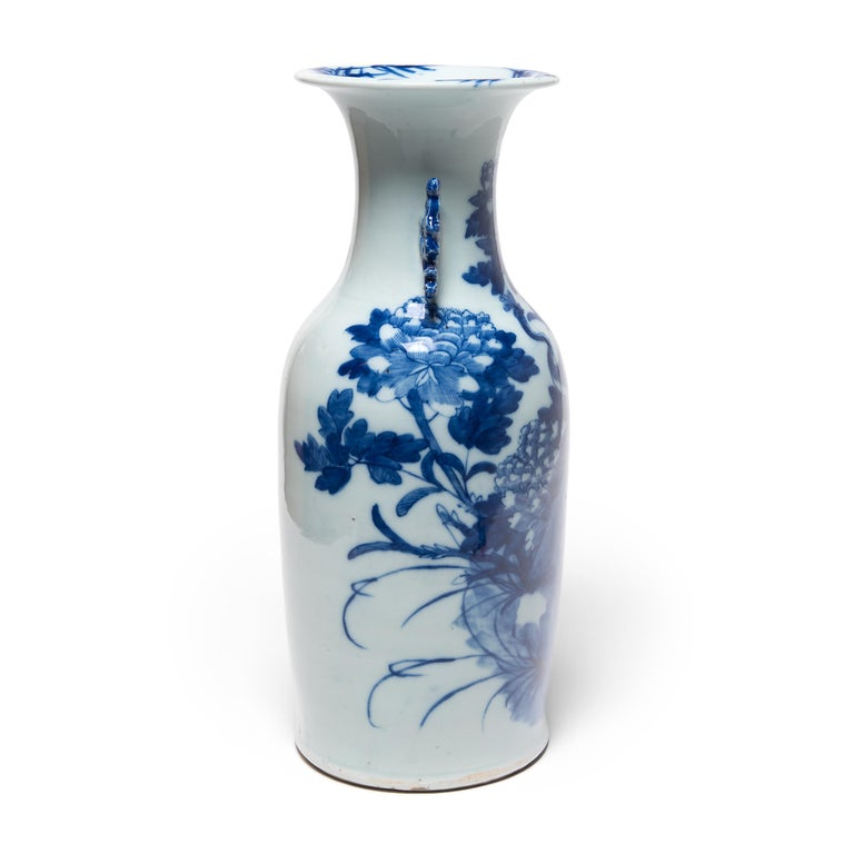 Glazed 20th Century Chinese Blue and White Peacock Fantail Vase For Sale