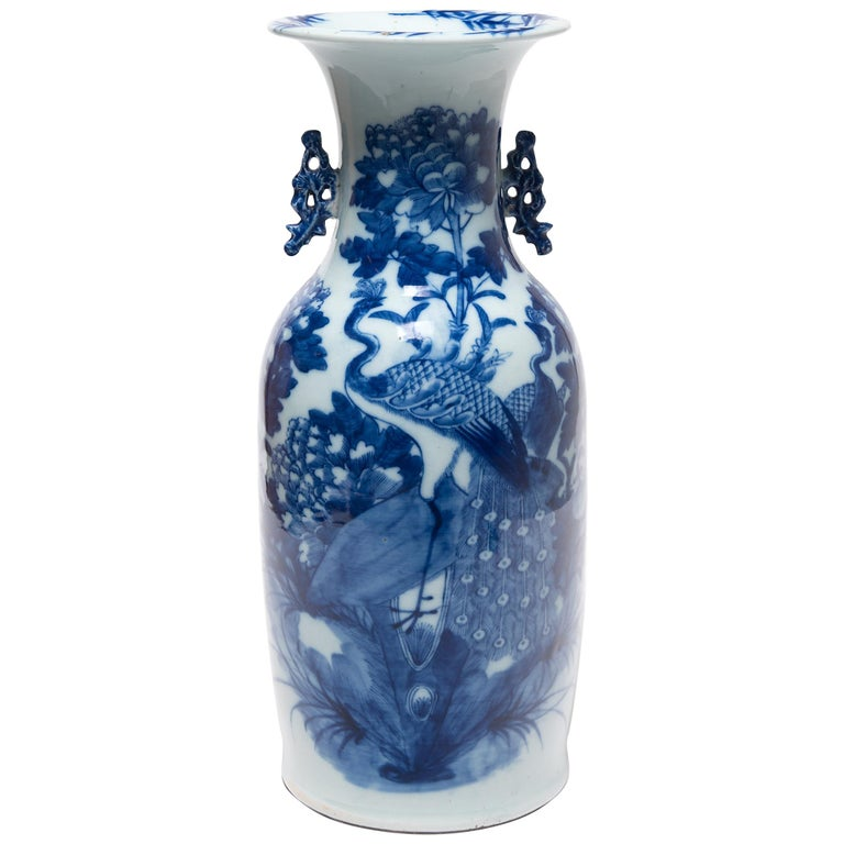 20th Century Chinese Blue and White Peacock Fantail Vase For Sale