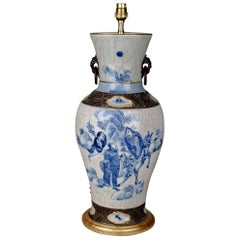 19th Century Chinese Blue and White Porcelain Baluster Table Lamp