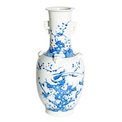 19th Century Chinese Blue and White Qing Period Vase with Foo Dog Heads