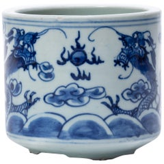 19th Century Chinese Blue and White Twin Dragon Censer