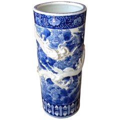 19th Century Chinese Blue and White Umbrella Stand