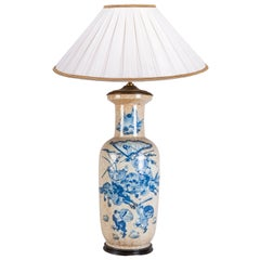19th Century Chinese Blue and White Vase / Lamp