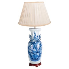 19th Century Chinese Blue and White Vase or Lamp