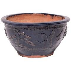 19th Century Chinese Blue Glazed Longevity Bowl