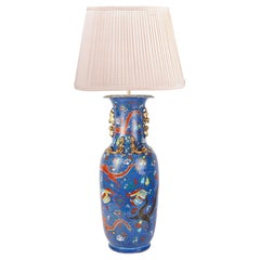 19th Century Chinese Blue Ground Vase or Lamp