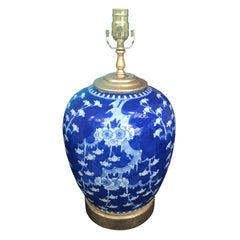 19th Century Chinese Blue and White Peach Blossom Porcelain Lamp