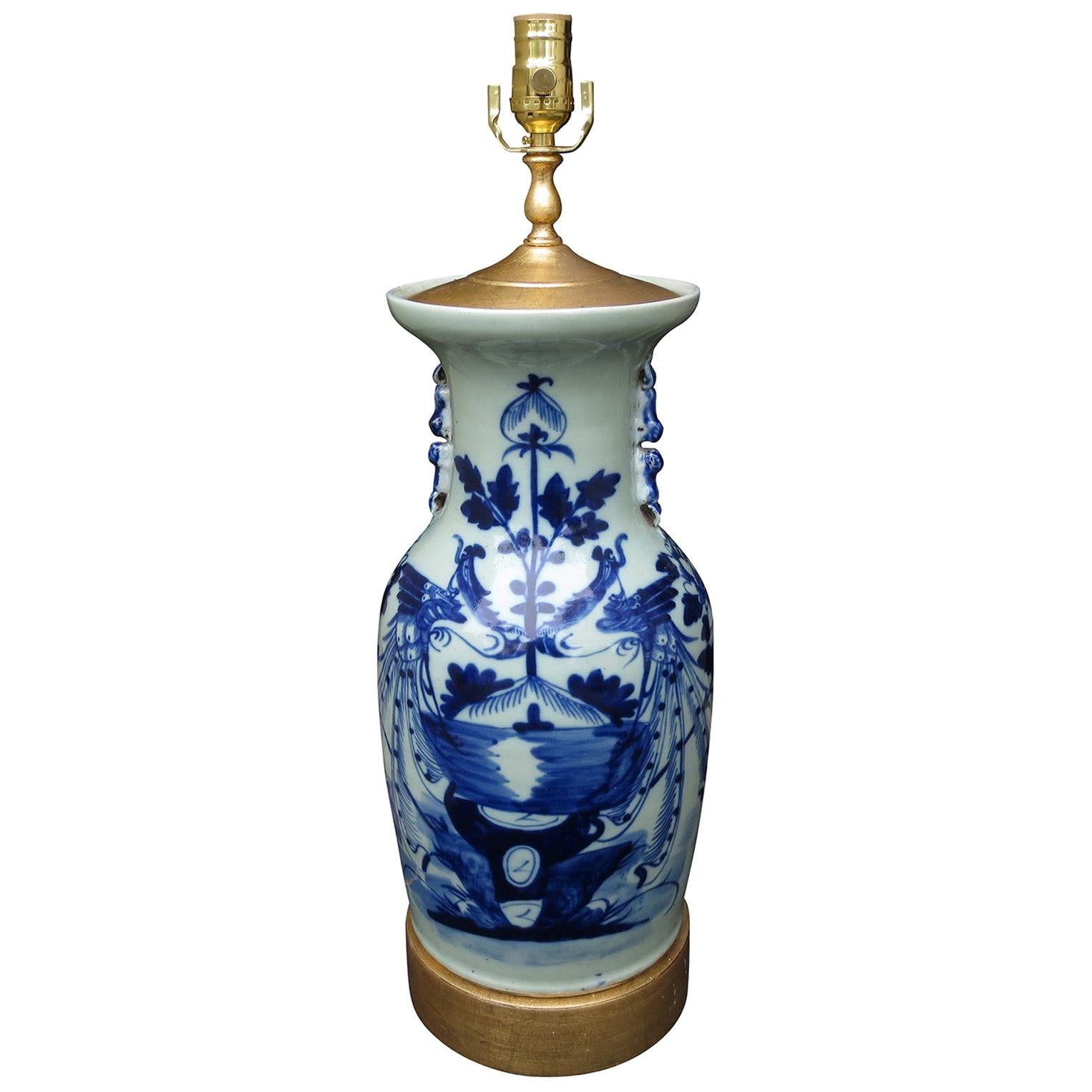 19th Century Chinese Blue and White Porcelain Lamp