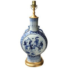 19th Century Chinese Blue and White Porcelain Moon Flask as Lamp, Custom Base
