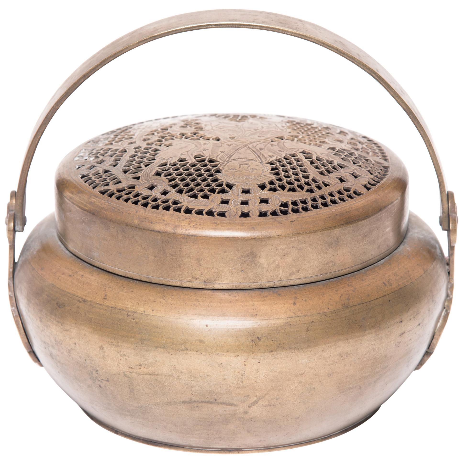 19th Century Chinese Brass Fortune Brazier