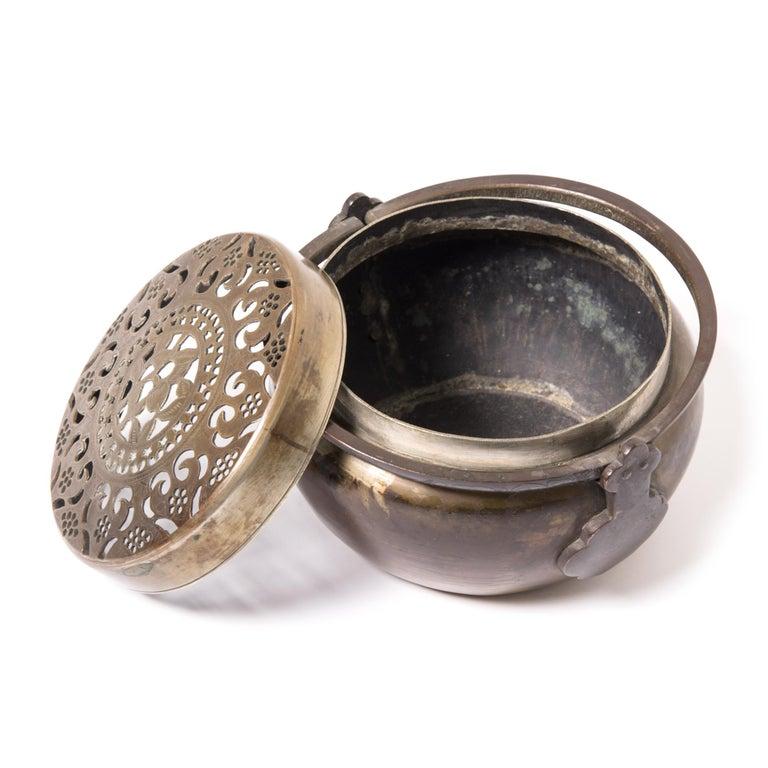 19th Century Chinese Brass Longevity Brazier For Sale 2
