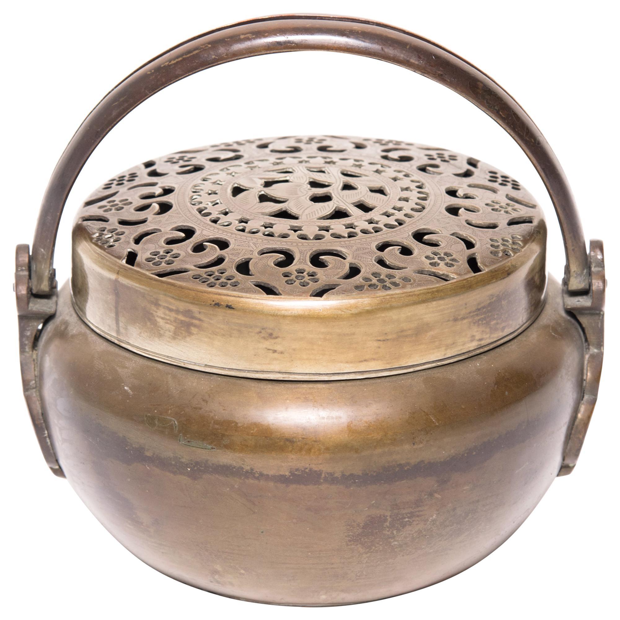 19th Century Chinese Brass Longevity Brazier