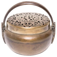 19th Century Chinese Brass Longevity Brazier
